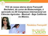 Egressa da Faculdade Ciências da Vida tem TCC aprovado no XX Congresso Internacional em Ciências Agr