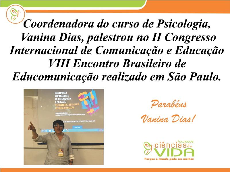 Coordenadora de Psicologia participou do congresso de comunicação em São Paulo