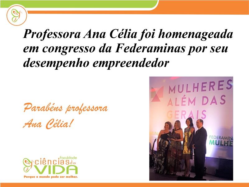 Professora foi homenageada em congresso da Federaminas