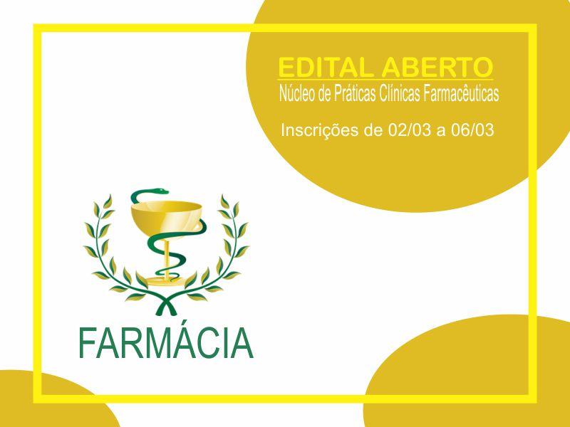 Edital aberto para seleção de acadêmicos do curso de Farmácia