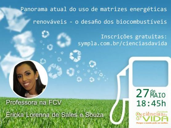 Palestra gratuita sobre: o desafio dos biocombustíveis