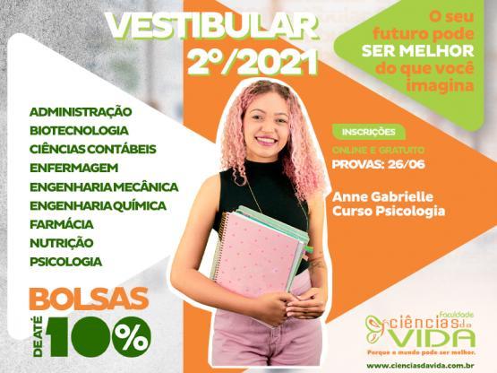 Inscrições abertas para o Vestibular 2º-2021 com Bolsas de Estudo